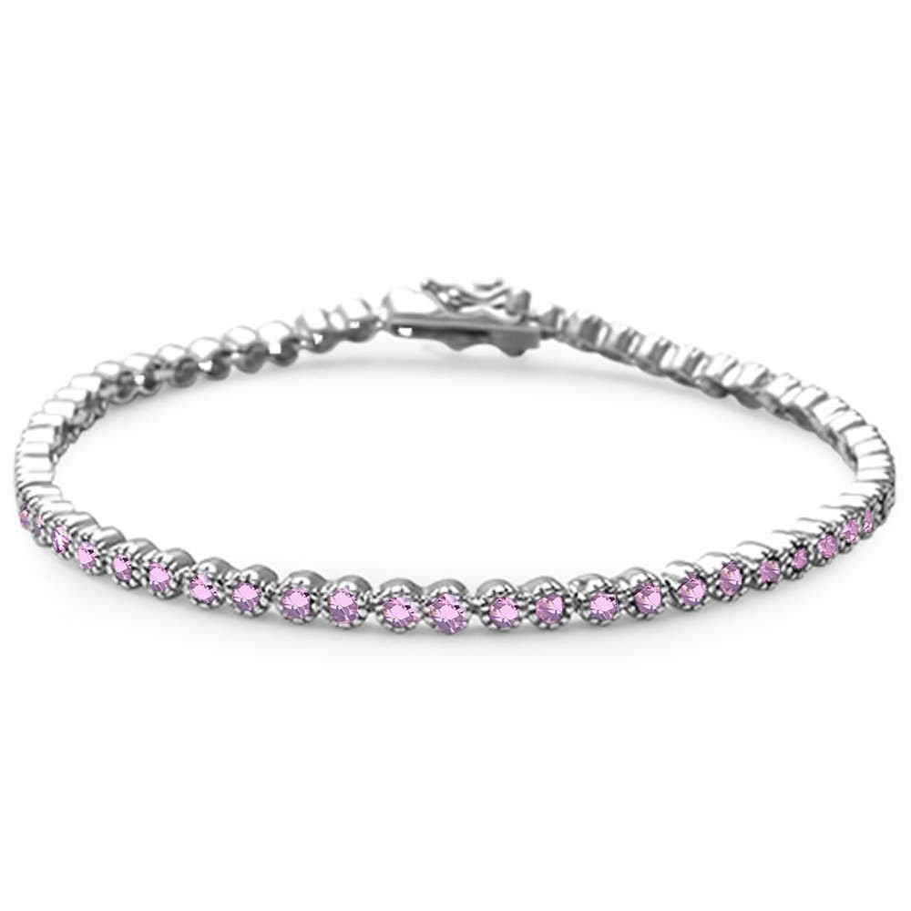 Oxford Diamond Co Elegant 7'' Round Simulated Gemstone .925 Sterling Silver Tennis Bracelet Colors Available (Pink Cubic Zirconia)