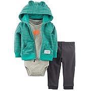 Kidsform Baby Boy Girl 3-Piece Hoodie Jacket Coat Short Sleeve Romper Long Pants Outfits Set Stripe1 6M