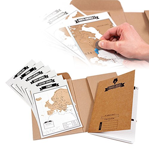ElementDigital Travelogue Scratch off Map Page Travel Journal Tourist Notebook Travel Journal Diary Book with 8 Scratch Off World Map Cards Scratchable World Map Travel Tracker Cards