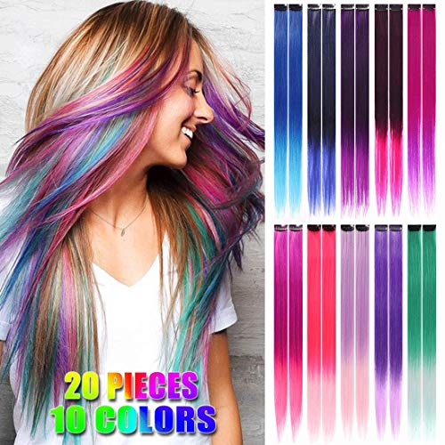 20 Pcs Ombre Colored Clip in Hair Extensions 21 Inch Heat-Resistant Synthetic straight Hair Extensions for Women Girls Kids Gift Multi-Colors Party Highlights Clip in Synthetic Hairpiece