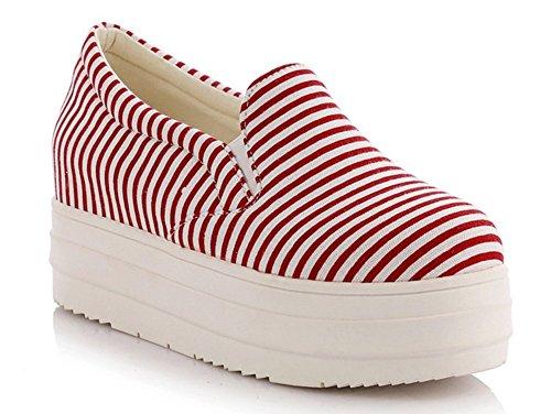 Aisun Femmes Décontracté Rayures Confortables Élastique Bout Rond Ascenseur Glisser Sur La Plate-forme Mode Sneakers Toile Mocassins Chaussures Rouge