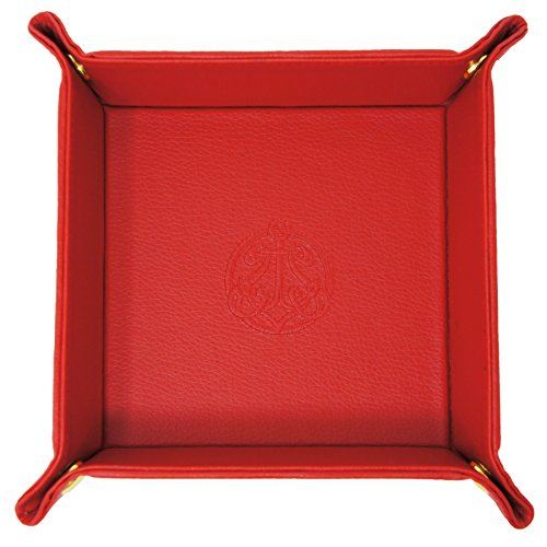 SIVEL + SHARP Vegan Leather Valet Tray - Embossed Catchall Tray with Brass Snaps (Red)