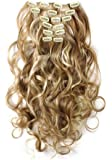 SWACC Women 20 Inches Curly Full Head 7 Separate Pieces Heat Resistance Synthetic Hair Clip in Hair Extensions…