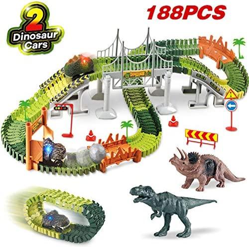 HOMOFY ?Dinasors Race Track Toys 188Pcs Flexible Trains Tracks Create A Dinosaur World Road Race Track Vehicle Playset 2 Dinosaurs 2 Cars Gift Toys for 3 4 5 6 7 Year Old Boys and Girls