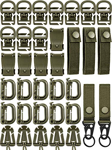35 Pieces Tactical Gear Clip Strap for Molle Backpack Webbing Attachments D Ring Dominators Tactical Vest Belt (Style D)