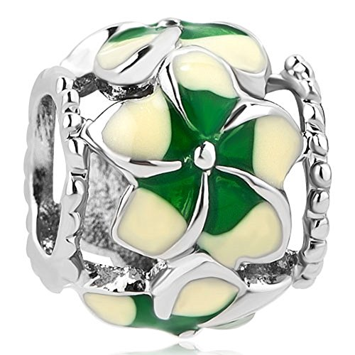LuckyJewelry Hollow Out Enamel Flower Green Clover Beads Charms for Bracelet