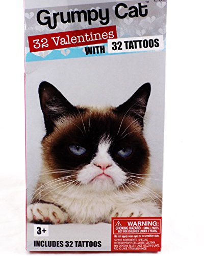 amazoncom 32 grumpy cat valentine classroom sharing cards with 32 tattoos office products