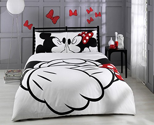 Paris Home 100% Cotton 5pcs Disney Minnie Loves Kisses Mickey Mouse Full Queen Size Comforter Set Heart Theme Bedding Linens (Home Bedding Sale)
