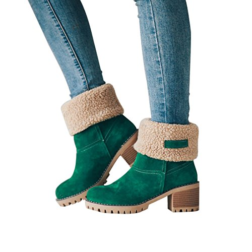 Snow Women's Chunky Mid Boots Green Ankle Waterproof Suede Mostrin Round Boots Warm Heels Fur Toe Winter AEqAdwS