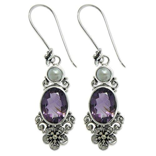 (NOVICA Amethyst Cultured Freshwater Pearl .925 Sterling Silver Dangle Earrings, Queen of Flowers')