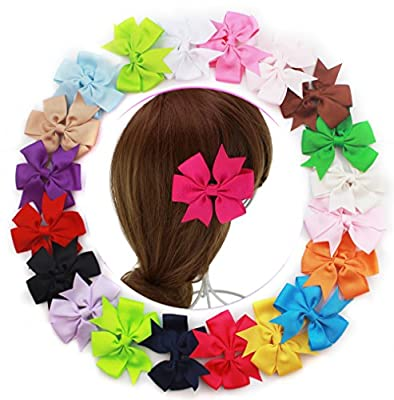 """20pcs Boutique Girls 3""""-3.5"""" Lg Grosgrain Ribbon Pinwheel Hair Bow Clips 20 Different Colors As Shown in the Pic"""