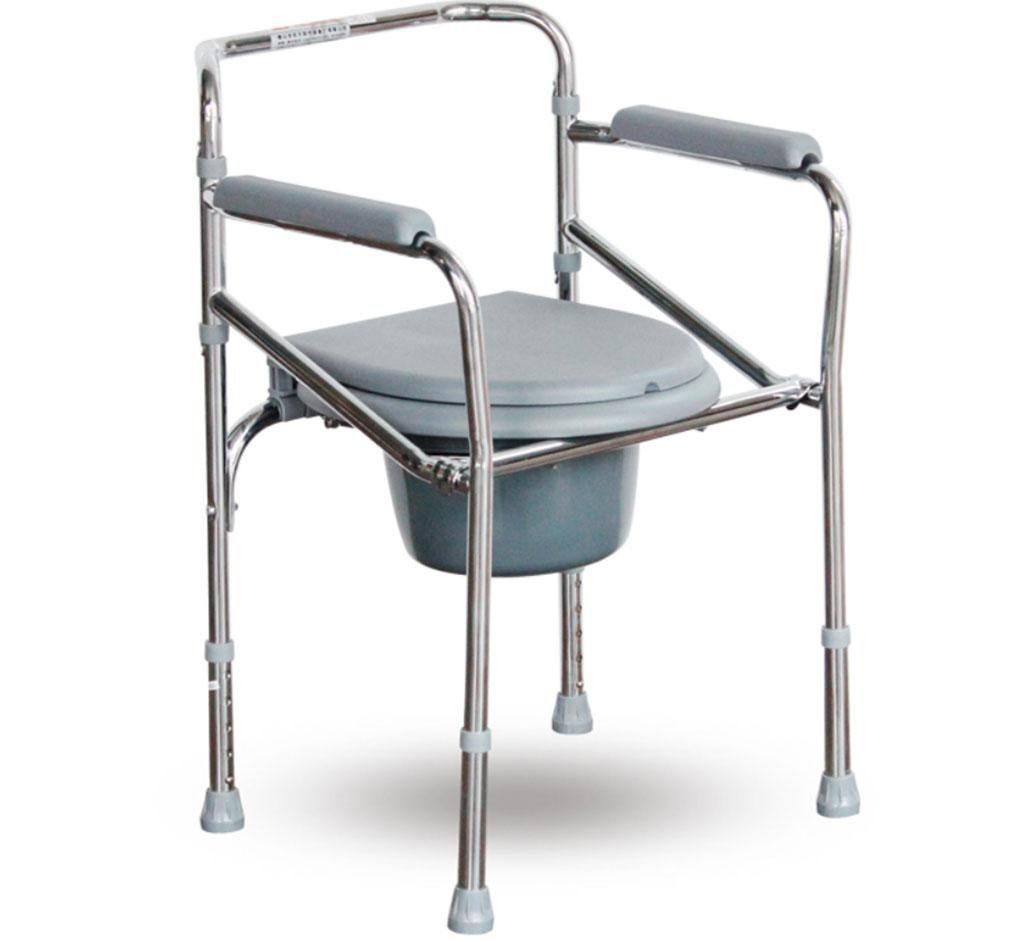 jiaminmin Folding Aluminum Bedside Commode The elderly pregnant women with disabilities can adjust the toilet seat toilet seat toilet chair, gray xinxin.com