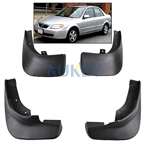 XUKEY Auto Molded Splash Guards for Mazda Protege 323 98-03 Mud Flaps - Front & Rear 4 Pieces Set