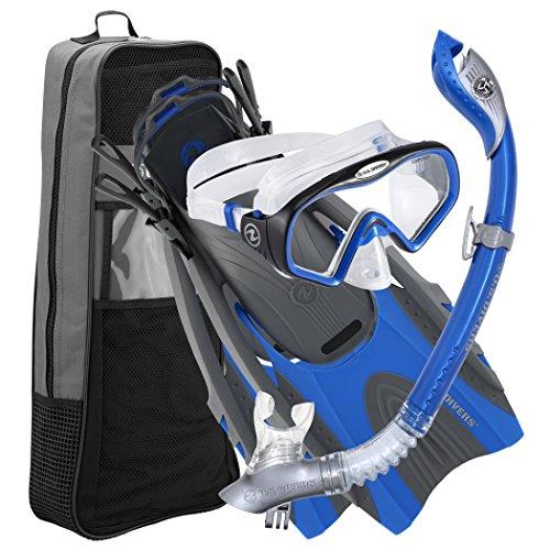 U.S. Divers Pro LX+ Snorkeling Set Starbuck Iii LX Purge Mask, Electric Blue, Small/Medium