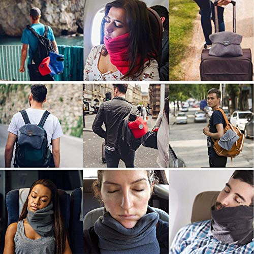 JZDZ Neck Support Travel Airplane Pillow with Adjustable Strap,Travel Pillow Scientifically Proven Supper Soft Fleece Cover for Unisex Men Women Kids,Gray by JZDZ (Image #7)