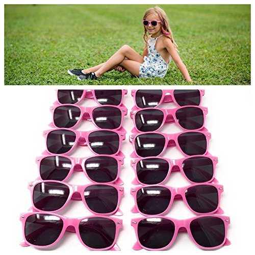 Pink Kids Sunglasses (12 Pack) – 100% UV Protection for The Beach, Pool and Outdoor Activities - Reduces Glare and Eye Strain - Wayfarer Style Glasses - Best For Party - Meaning Uv400