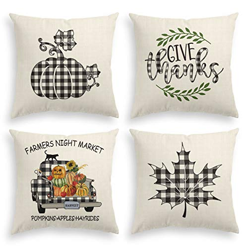 AVOIN Fall Throw Pillow Cover Buffalo Plaid Pumpkin Truck, 18 x 18 Inch Autumn Thanksgiving Harvest Farmhouse Linen Cushion Case for Sofa Couch Set of 4 (Cushions Outdoor Fall)
