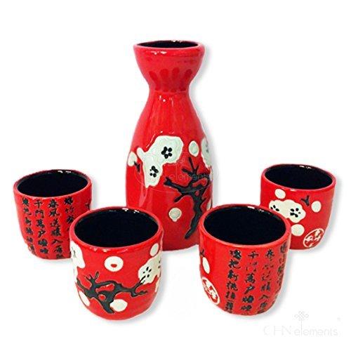 SERVICE A Sake en céramique (1 bouteille & 4 tasses avec poème & Motif floral chinois Rouge/noir CHINA ELEMENTS