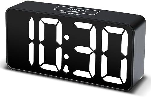 DreamSky Compact Digital Alarm Clock with USB Port for Charging, Adjustable Brightness Dimmer, White Bold Digit Display, 12 24Hr, Snooze, Adjustable Alarm Volume, Small Desk Bedroom Bedside Clocks.