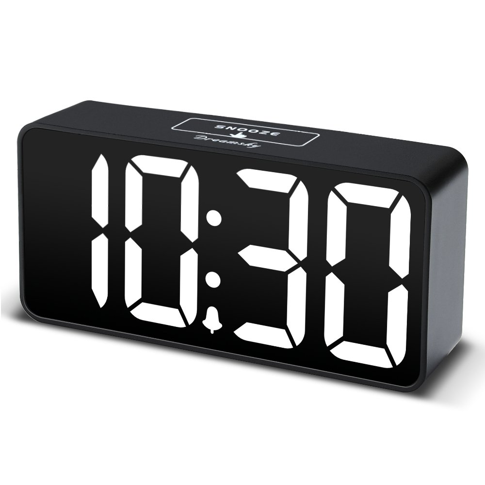 DreamSky Compact Digital Alarm Clock with USB Port for Charging, Adjustable Brightness Dimmer, Bold Digit Display, 12/24Hr, Snooze, Adjustable Alarm Volume, Small Desk Bedroom Bedside Clocks. (White)