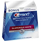 Crest 3D Whitestrips Glamorous White, Teeth Whitening Kit, 16 Treatments (32 Individual Strips) + 2 Bonus 1-Hour Express Treatments