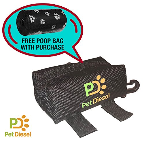 Dog Poop Bag Holder + Free Roll Of Poo Bags | Durable Waste Dispenser | Pickup Bag For Your Pet | Heavy Duty, Leak Proof & Non-See Through Holder | Daily Walks & Travel | Zippered Pouch w/Hook: Black