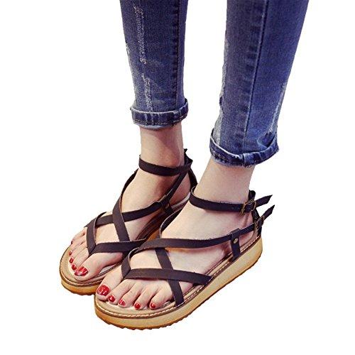 Btrada Kvinner Krysser Stropp Roman Flate Sandaler Elastiske Retro Plattform Sandaler Svart