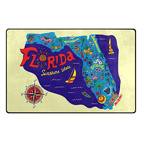 Florida Door Mat (My Daily Cartoon Map of Florida Travel and Attractions Area Rug 20