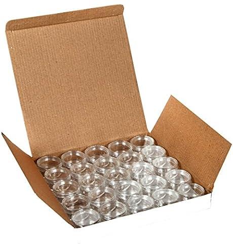 Vivaplex, 25 Clear, 10 Gram Plastic Pot Jars, Cosmetic Containers, With Lids. - Makeup Jars