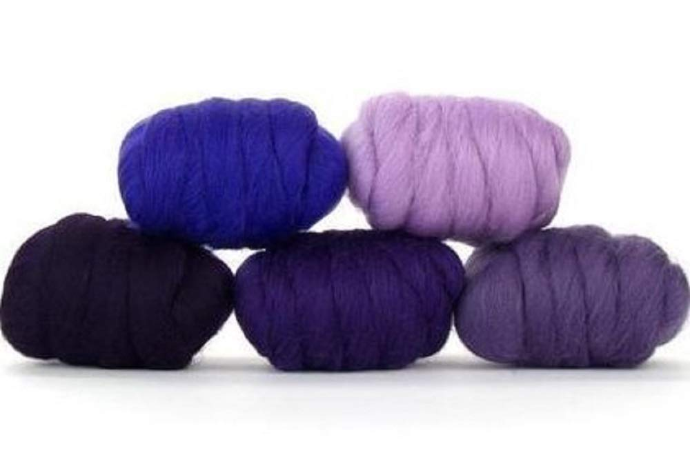 Paradise Fibers Mixed Merino Wool Bag - Plush Purple - Merino Wool Fiber Lot Perfect for Needle Felting, Wet Felting, Hand Spinning, and Blending by Paradise Fibers (Image #1)