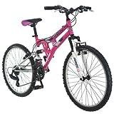 """Mongoose Exlipse 24"""" Girls Dual Suspension Mountain Bike, Pink"""