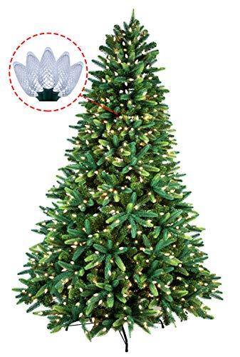 lor PE Mixed Pine Christmas Tree Prelit 600 UL Warm White Strawberry LED String Lights Metal Stand ()
