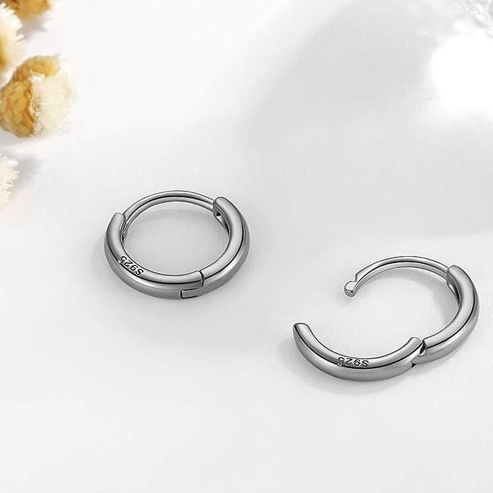 Small Hoop Earrings Women Men 13mm Round Circle Sleeper Earrings Silver Pair