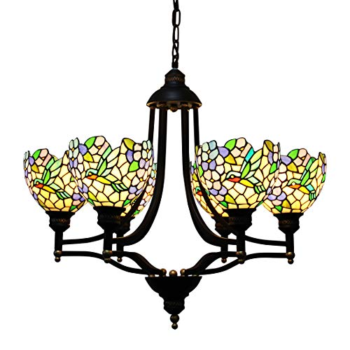 (Makenier Vintage Tiffany Style Stained Glass Wisteria Humming Bird 6 Arms Wrought Iron Art Chandelier)