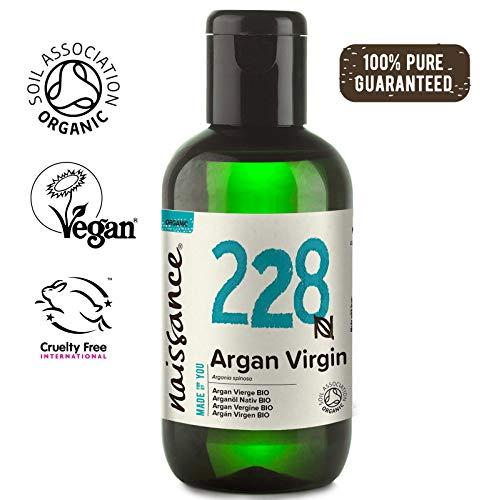 Naissance Organic Moroccan Argan Oil 3.4 fl oz/100ml - Pure & Natural, UK Certified Organic, Vegan, Hexane Free, No GMO - Unscented Natural Moisturizer & Conditioner for Face, Hair, Skin (Best Argan Oil For Hair Uk)