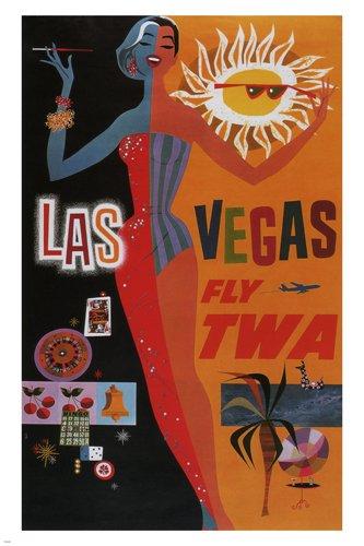 LAS VEGAS FLY TWA vintage travel poster United States 24X36 Show Girl