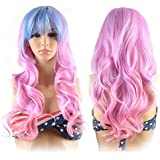 Hair Wigs for Women, Image Gradient Color Hair Extensions, Long Full Curly Wavy Glamour BLUE + PINK Wig with Wig Cap…