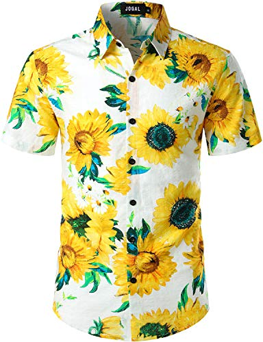 JOGAL Men's Flower Casual Button Down Short Sleeve Hawaiian Shirt (White Sunflower, Medium)
