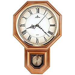 JUSTIME Traditional Schoolhouse Roman Pendulum Wall Clock Chimes Hourly with Westminster Melody Made in Taiwan (PP0262-RV Vintage Copper)