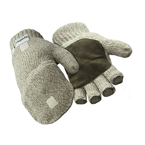 (RefrigiWear Thinsulate Insulated Ragg Wool Convertible Mitten Fingerless Gloves with Suede Palm (Brown, X-Large))
