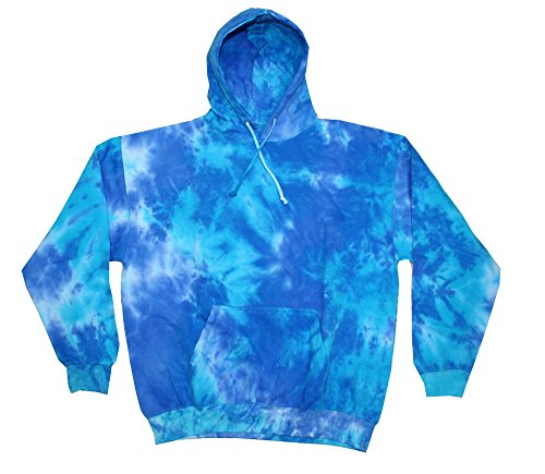 Tie Dye Blue Mix Hoodie Kids and Adult S-3XL Colortone Pockets No Zipper Long Sleeve (Large) (Tie Dye Bleach)