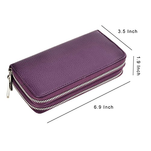 Phone Big Premium Wallet Purse Dual Purple HAWEE Card Clutch Long lichi PU Woman Size for Smart Zippered Cash Coin for dvvzW6