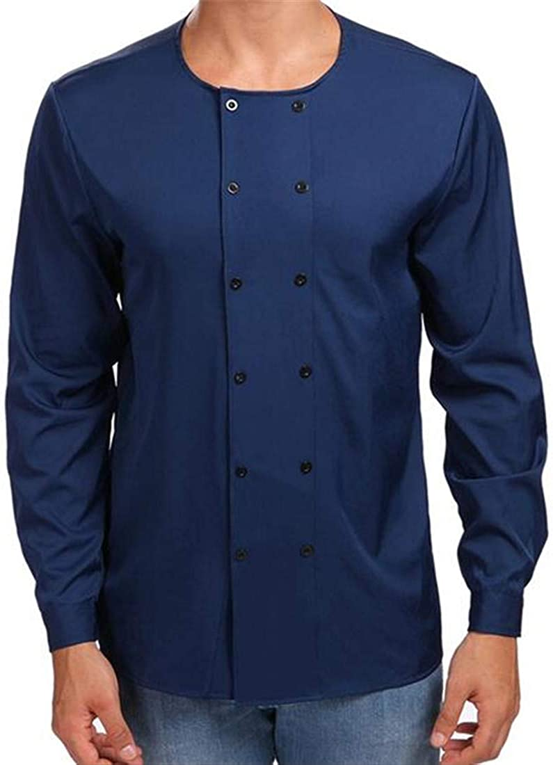 Nanquan Men Classic Solid Long Sleeve Crew Neck Double Breasted Button Down Shirt