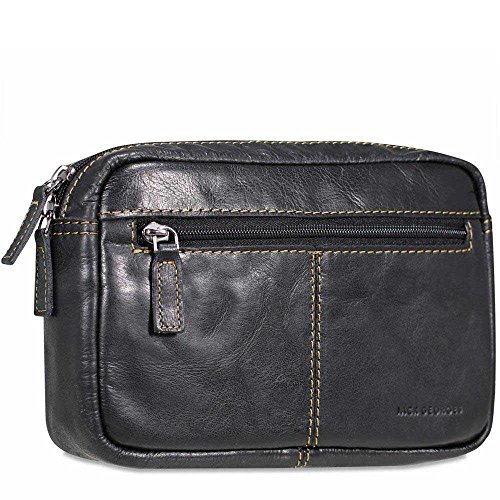 Jack Georges Voyager Belt Bag, Leather Travel Kit in Black by Jack Georges