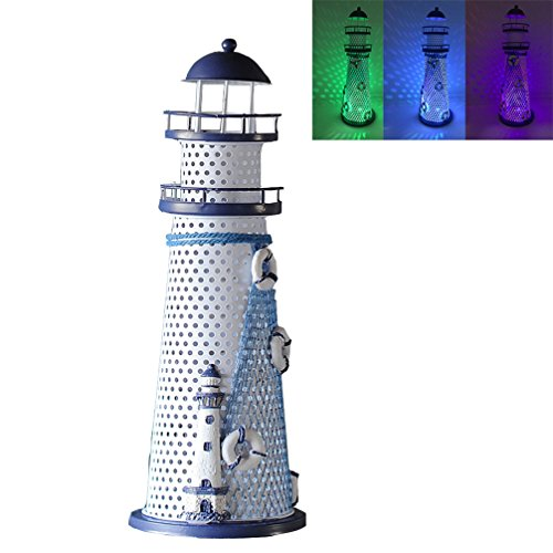 Luwint Color Changing LED Lantern Night Light Metal Vintage Openwork Ocean Lighthouse Wedding Lamp, 1 of 3 Mediterranean Styles, Batteries Included, with Greeting Card, 1 Pcs (Large / 11.5'' High)