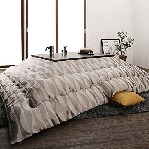 CLD 丸洗いOKサテン織デザインこたつ布団 2色対応 幅200 奥行250 cm (長方形) ポリエステル100% ※こたつ本体は付属しておりません。 (シルバー)  シルバー B07HQC47PS