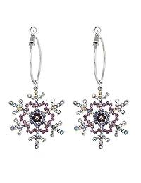 Ever Faith Bridal Silver-Tone Austrian Crystal Winter Snowflake Dangle Hoop Earrings