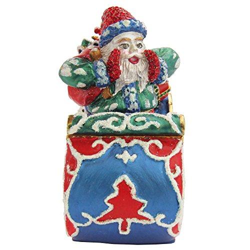 (Santa Clause On A Blue Sleigh Figurine Trinket, Pill, Jewelry Box Enameled With Swarovski Elements Crystals)
