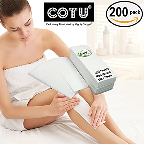 """200 Pack of COTU (R) Beauty Non Woven Large 3 x 9"""" Body and Facial Hair Removal Wax Strips - Non Woven Waxing"""