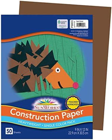 Dark Brown 9-inch x 12-inch 6803 Pacon SunWorks Construction Paper